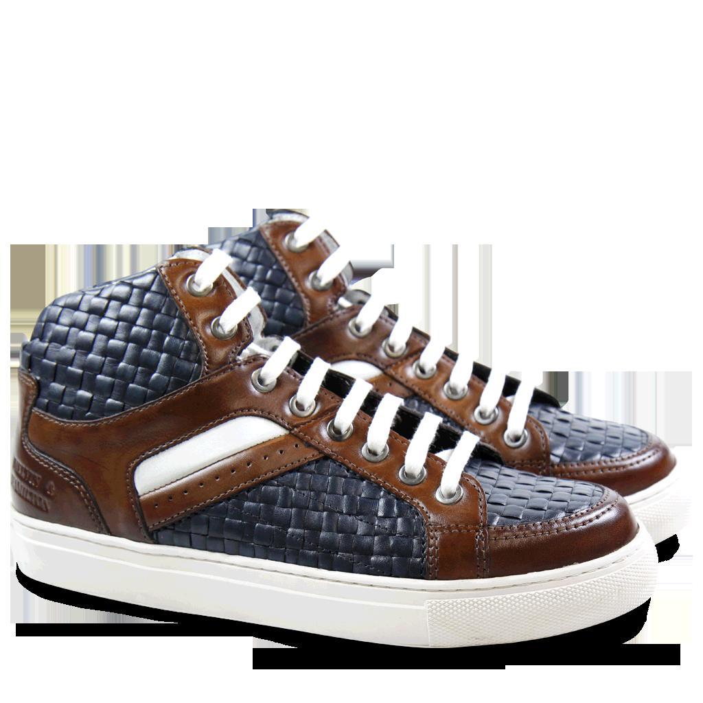 Artikel klicken und genauer betrachten! - Großes Thema in diesem Winter sind Sneaker! Und mit dem Modell Jeanne von Melvin & Hamilton können Sie die perfekte Mischung aus trendy und casual in Ihren Schuhschrank einziehen lassen! Die hübschen Details wie eine weiße Gummisohle, die Schnürung und eine originelle Schuhform sprechen für sich! Das Highlight ist natürlich das blaue, geflochtene Leder. Ein wunderschönes Modell im Farbmix Blau, Weiß & Braun! | im Online Shop kaufen