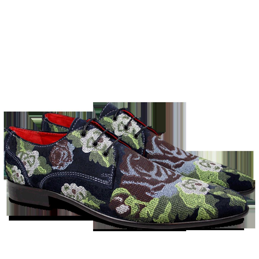 Artikel klicken und genauer betrachten! - Ihnen gefällt der charakterstarke spitze Toni von Melvin & Hamilton? Entdecken Sie einen unserer Bestseller für Herren jetzt wieder, in einer neuen, raffinierten Version! Eine Kreation aus einzigartigen Textilien im Blumen Stickmuster in Blau- und Grüntönen. Eine extravagante Version eines eleganten Oxford Schuhs! | im Online Shop kaufen