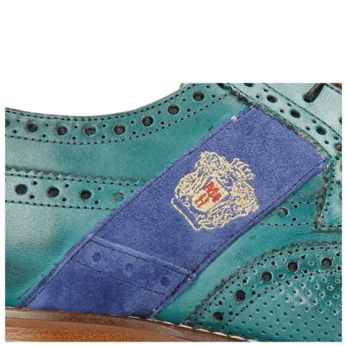 Derby Schuhe Eddy 25R Perfo Turquoise Embrodery