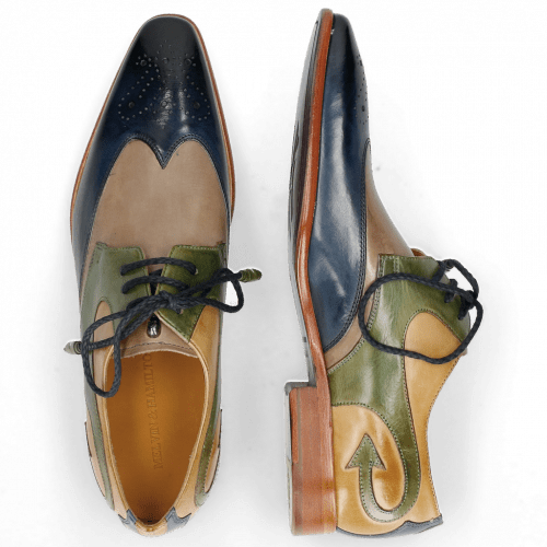 Derby Schuhe Elvis 63 Mock Navy Digital Bioalgae Olivine