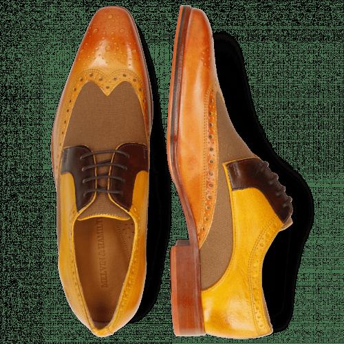 Derby Schuhe Lewis 3 Imola Mastic Textile Safari Tan Mid Brown Yellow