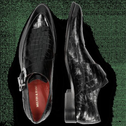 Monk Schuhe Toni 24 Crock Black Toe Gunmetal