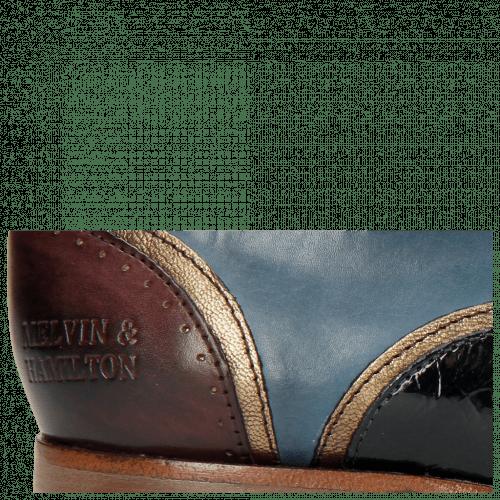 Oxford Schuhe Sally 38 Burgundy Stone Mid Blue Nappa Aztek Bronze