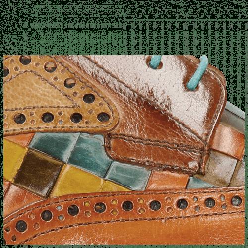 Derby Schuhe Henry 7 Tan Nude Arancio Woven Multi
