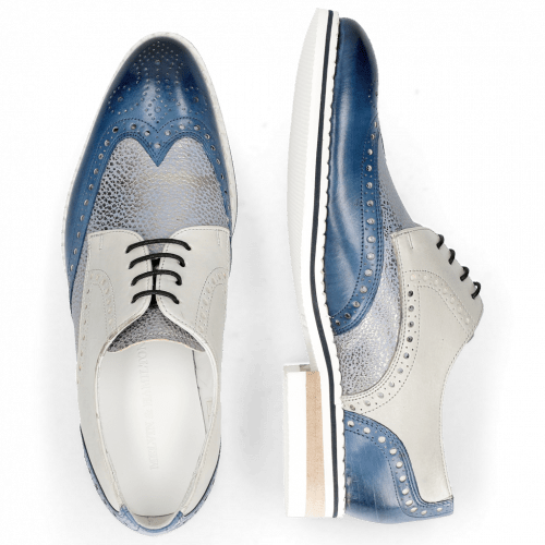 Derby Schuhe Kane 5 Vegas Mock Navy Grafi Silver Blue Digital