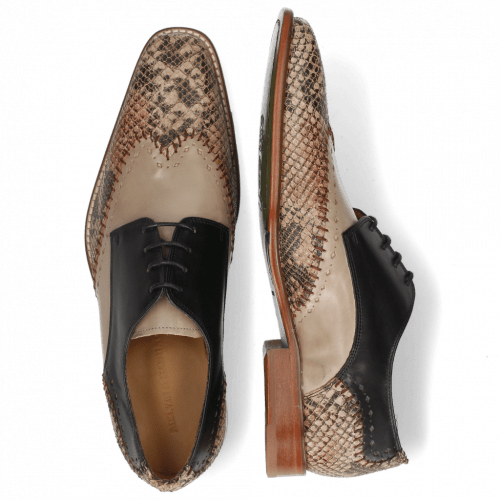Derby Schuhe Clark 1 Snake Digital Black