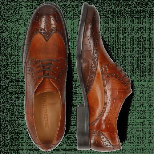 Derby Schuhe Amelie 3 Vegas Crock Wood Tan
