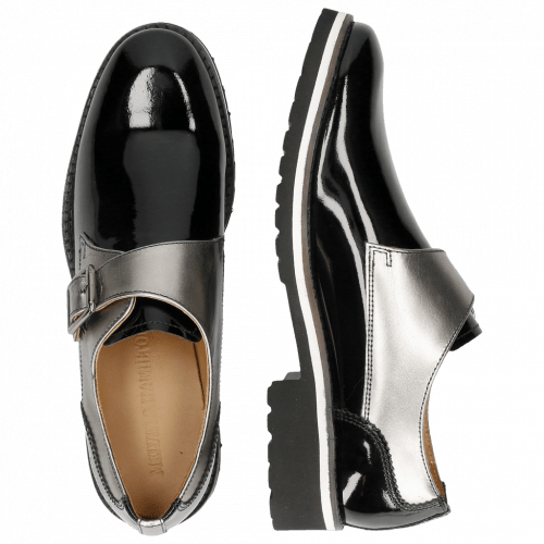 Monk Schuhe Esther 5 Patent Black Laminato Gunmetal Rook D Black