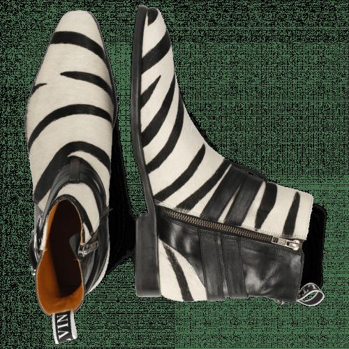 Stiefeletten Elvis 45 Monza Black Hairon Wide Zebra
