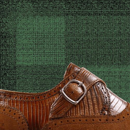 Monk Schuhe Henry 11 Guana Tan Suede Cognac HRS