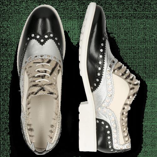 Oxford Schuhe Amelie 87 Vegas Black Talca Silver Hairon Young Zebra