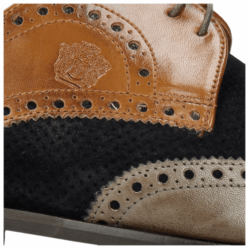 Derby Schuhe Xander 4 Rio Stone Wood Suede Pattini Perfo Navy