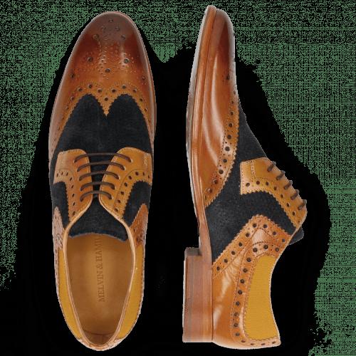 Derby Schuhe Clint 19  Tan Nubuck Perfo Deep Navy