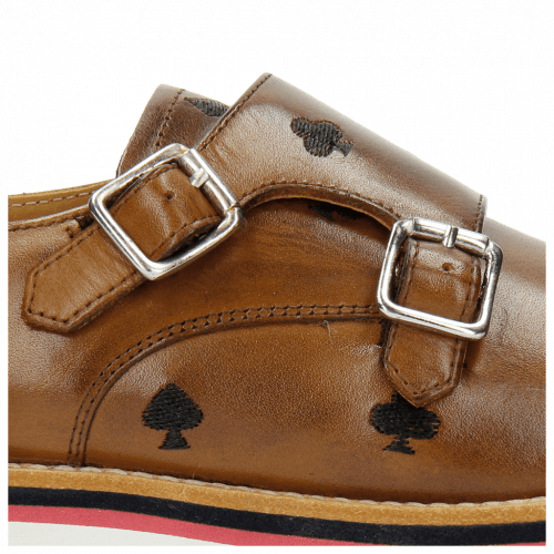 Monk Schuhe Esther 1 Tan Embrodery Poker