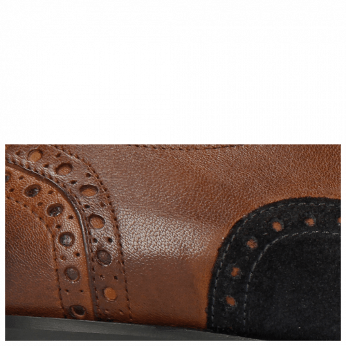 Oxford Schuhe Rico 15 Rio Mid Brown Suede Pattini Navy