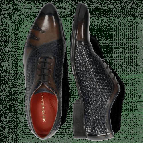Oxford Schuhe Toni 44 Mesh Stone Navy Patent Black