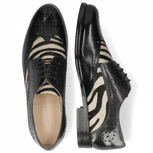 Derby Schuhe Selina 41 Imola Black London Fog Hairon Zebra