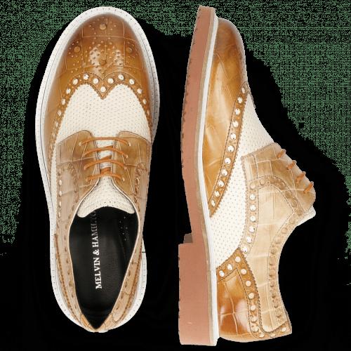 Derby Schuhe Blake 1 Vegas Turtle Tan Perfo White Sand