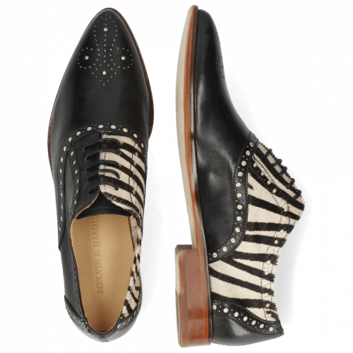 Oxford Schuhe Jessy 61 Nappa Black Hairon Zebra Flex
