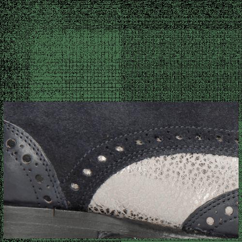 Derby Schuhe Kane 5 Navy Grafi Gunmetal Suede Pattini Navy
