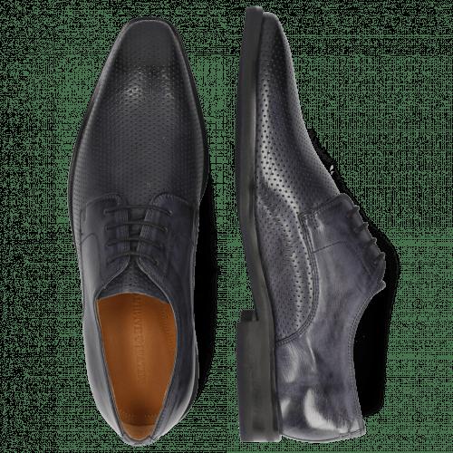 Derby Schuhe Alex 1 Berlin Perfo Navy