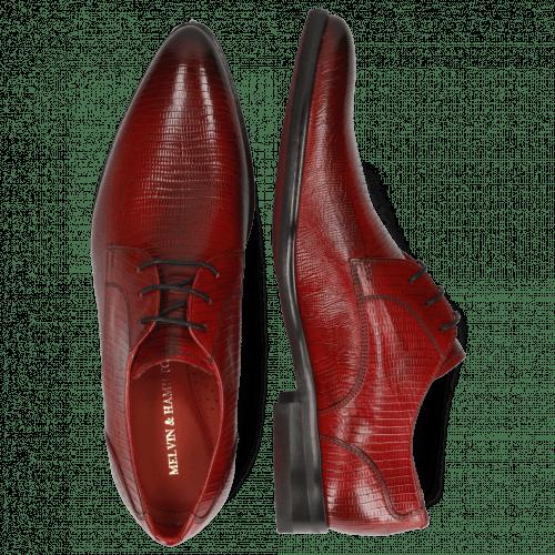 Derby Schuhe Toni 1 Lizzard Ruby