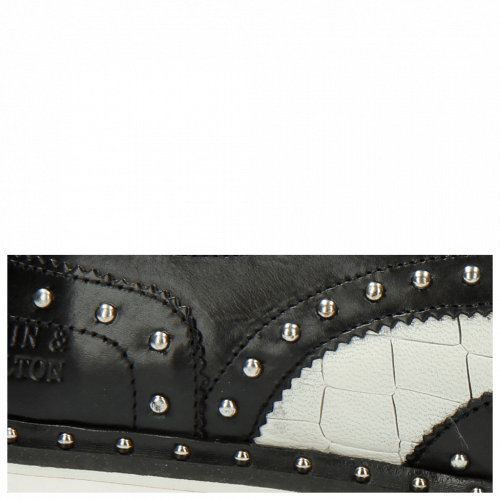 Derby Schuhe Matthew 14 Venice Crock Black White Rivets