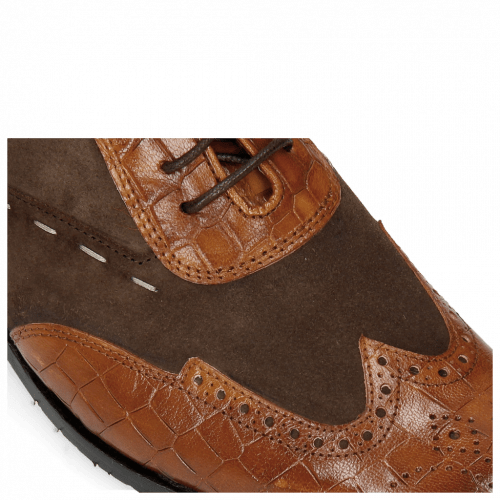 Oxford Schuhe Rico 18 Venice Crock Wood Suede Pattini Dark Brown