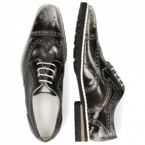 Derby Schuhe Clark 45 Brush Off Black White