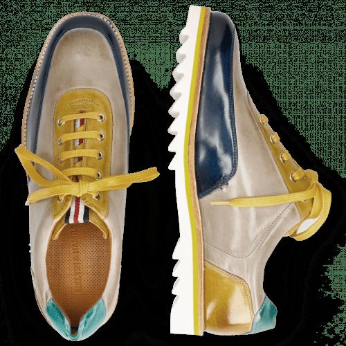 Sneakers Niven 10 Mid Blue Digital Olivine Mermaid Laces Yellow