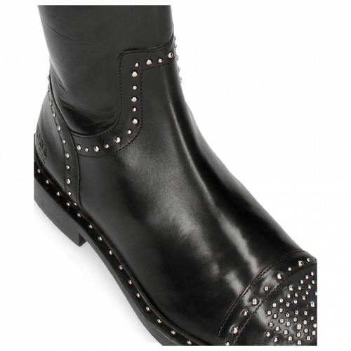 Stiefel Sally 116 Black Rivets Nickle Lining