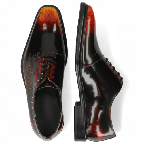 Oxford Schuhe Clark 6 Brush Off Black Lasercut Dragon Rivets