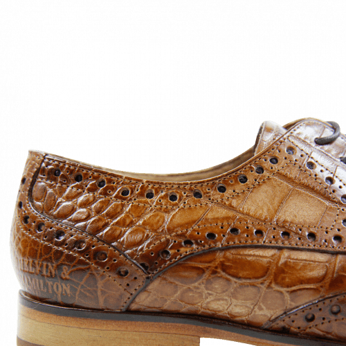 Derby Schuhe Jessy 6 Baby Croco Tortora LS