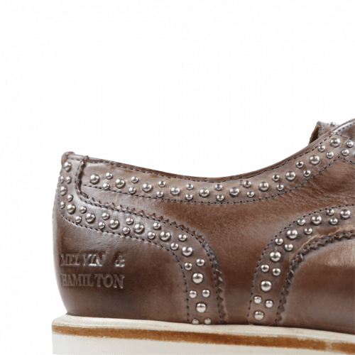Derby Schuhe Molly 1 Crust Pale Lila Rivets XL Ginger White