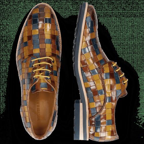 Derby Schuhe Brad 7 Woven Multi Wood Wind Nude Olivine