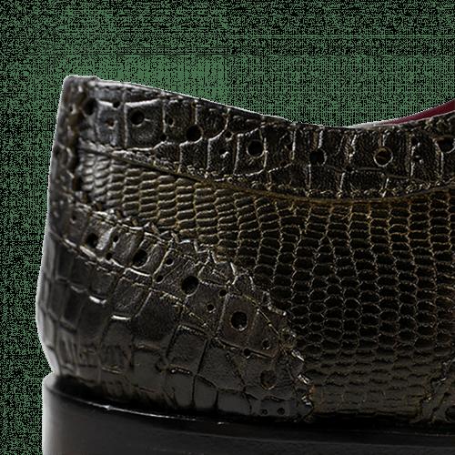 Derby Schuhe Mark 3 Big Croco Guana Light Crock Lizzard Light Crock Black Gold Finish New HRS