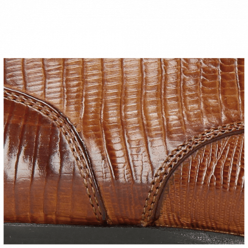 Derby Schuhe Toni 1 Lizzard Tan Lining Red