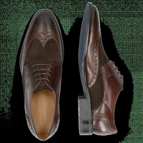 Derby Schuhe Victor 2 Rio Mogano Suede Pattini Brown