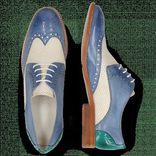 Derby Schuhe Amelie 3 Vegas Neptune Blue Perfo White Wind Onda
