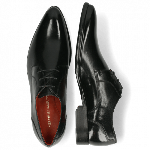 Derby Schuhe Toni 1 Black Lining Red HRS