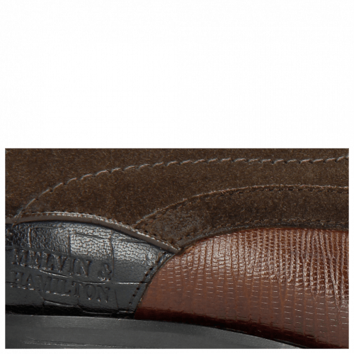 Derby Schuhe Rico 14 Venice Guana Mid Brown Suede Pattini Brown