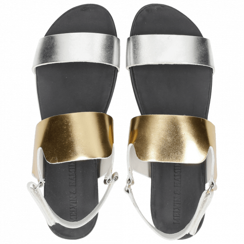 Sandalen Eva 2 Laminato Silver Gold Powder White Footbed Blue Live White