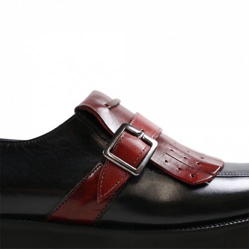 Monk Schuhe Kelly 14 Black Strap Burgundy
