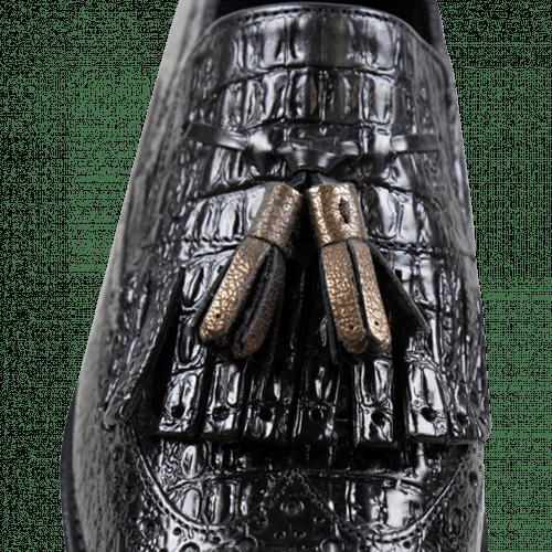 Loafers Amy 10 Baby Croco Black Tassel Bronze Elastic Cooper Cut Angel Black