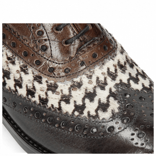 Oxford Schuhe Amelie 10 London Fog Hairon Tweed Black White Turtle Stone