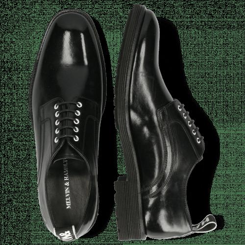 Derby Schuhe Eddy 54 Black Eyelets White Strap