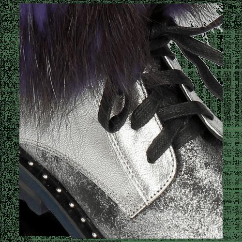 Stiefeletten Bonnie 18 Afix Grafite Black Nappa Aztek Silver Fur Bunny Blue