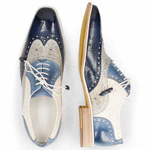 Oxford Schuhe Jeff 28 Vegas Navy Digital Moroccan Blue White