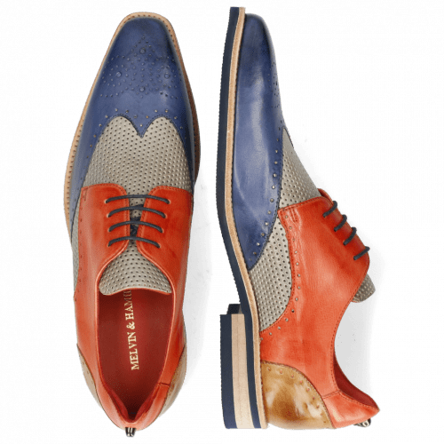 Derby Schuhe Dave 2 Imola Moroccan Blue Perfo Digital Earthly Sand
