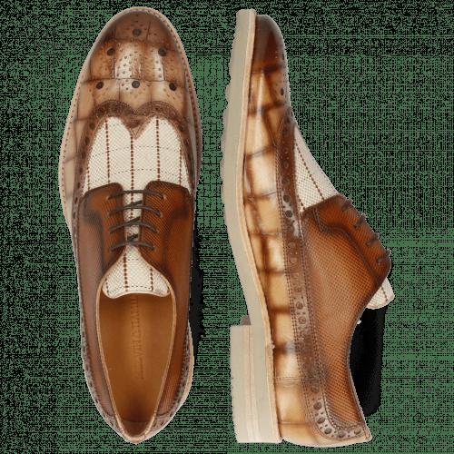 Derby Schuhe Clint 34 Turtle Nude Shade Jute Linen Check Dice Tan